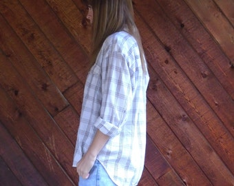 Off White Plaid FLANNEL Button Down Shirt - womens - Vintage 90s - MEDIUM M