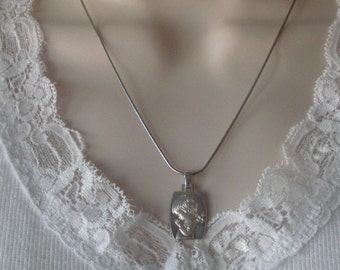 """STERLING SILVER """"Little Girl in Prayer"""" High Polish Background Matte Satin Girl in Raised Relief SIGNED Pendant Necklace"""
