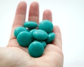 Vintage Lucite Round Pillow Coin Beads Teal Seafoam 20mm (10)