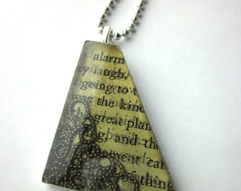 Book page resin bezel necklace, steampunk, triangle necklace