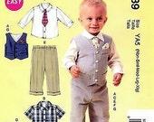 BIG BOY Sewing Pattern ~ Vest Tie Shirt Pants Shorts Pocket Square Wedding Suit