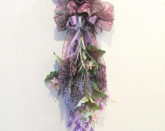 Amethyst Purple Dahlia Beaded Victorian Vertical Door or Wall Swag