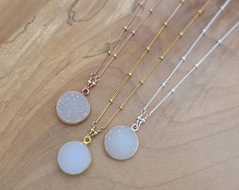 14mm White Druzy Necklace, Druzy Necklace, Rose Gold Druzy Necklace, Silver Druzy Necklace, White Druzy Round Charm Pendant, Satellite Chain