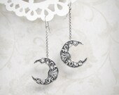 Pale Moon Dangle Earrings - Silver Crescent Moon Earrings, Half Moon Earrings, Crescent Earrings, Linear Earrings, Moonsong Collection