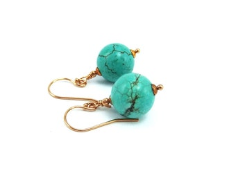 Turquoise Gemstone Bead Drop Earrings, Handmade, Hubei Turquoise, Classic earrings