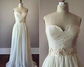 Louise Dotted Swiss Strapless Wedding Dress / Bustier Wedding Dress / Vintage Inspired Dress / Cotton and Silk / Swiss Dot