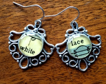 White Lace Music Earrings
