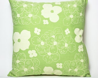"""Hand Printed Dogwood Pillow Cover- 18""""x18"""" (Grass)"""