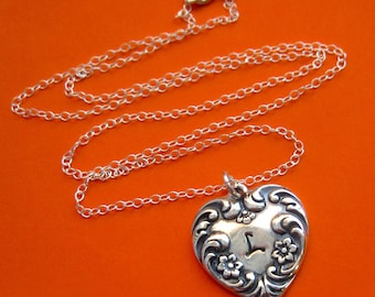 Handstamped Sterling Silver Antique Style Custom Initial Heart Necklace