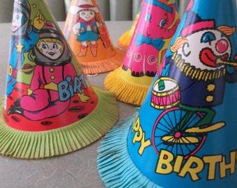 Vintage Birthday Hats, Child Birthday Party, Vintage Party Hats, Cone Crepe Paper, 1960s Hats, Vintage Party Supply, Clown Elephant Spaceman