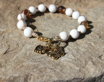 Boho Bracelet, Spiral Heart and Butterfly Bracelet-- Enduring Love