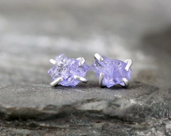 Tanzanite Earrings - Raw Tanzanite Earring - Sterling Silver Stud Style - Rustic Shape - December Birthstone - Raw Purple Gemstone Earring