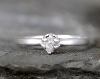 Raw Diamond Promise Ring - Sterling Silver Six Claw Setting - 1/4 carat Rough Uncut Diamond Gemstone - Matte Texture - Engagement Ring