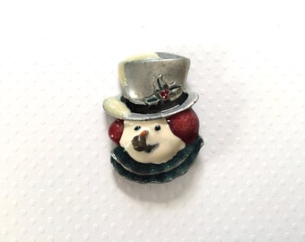 Vintage Snowman Brooch. Holiday. Christmas Pin. Top Hat. Snow. Glitter. Pipe. Fun Kitsch Brooch. Red. Blue. Holly. Antique Silver. Under 10.