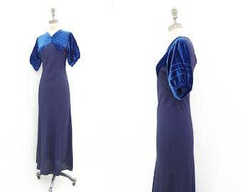 1930s Velvet Dress Vintage 30s Dress Blue Velvet Dress Sapphire Blue Dress Bias 30s Dress 30s Formal Dress 1930s Maxi Dress s