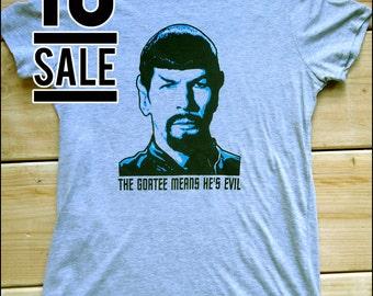 10 DOLLAR SALE-- Evil Spock Women's Heathered Gray Tshirt