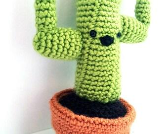 Happy Saguaro Bright Green Cactus Plushie // Fake Crochet Plant Amigurumi