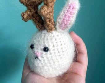 Fuzzy Jackalope Plushie // Crochet Amigurumi Stuffed Animal