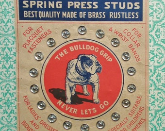 The Bulldog Grip antique vintage press studs on original card - snap fasteners - sewing notions collectibles - dog imagery