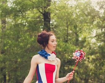 Red White and Blue Bustier Top,  4th of July Costume, Women's Costume, Women's Corset Top, Independence Day, Stage Wear