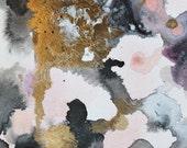 original painting, peach, gold and black abstract watercolor, original art, boho art, abstract art, Watercolors paintings original, wall art