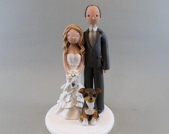 Bride & Groom with a Dog Custom Wedding Cake Topper