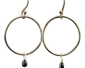14k Gold Hoop Earrings - Diamond Briolette Earrings - Black or Light Brown Diamond Earrings