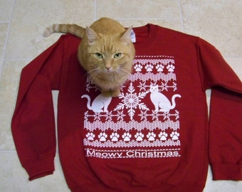 Christmas Sweatshirt, Meowy Christmas, Plus Sizes, funny sweater, Ugly Christmas Sweater, 2X, 3X, 4X, holiday sweater gift, cats, Cat shirt