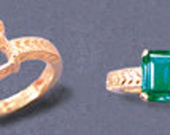 Solid 14kt. Yellow OR White  Gold ~ 10x8mm  Emerald Engraved shank ~ Ring setting ~ Custom sized  4 to size 12 ~ to be ordered ~ #832 ~  FDK