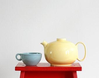 Mid Century Modern Bright Yellow W. S. George Ranchero Ceramic Teapot