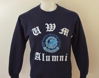Vintage UWM Milwaukee ALUMNI sweatshirt 1970's usa made puffy ink