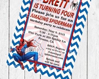 Digital Spiderman Birthday Party Invitation. Spiderman Birthday Party. Superhero Digital Download. Spiderman Printable Invites