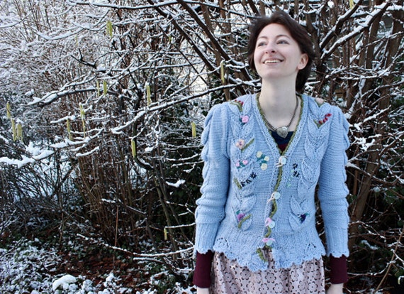 knit sweater,bavarian cardigan, 40s style, dirndl style, embroidery, pale blue aran