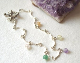 Sign of Spring Silver, Gemstone Bracelet -Rose Quartz, Aventurine, Amethyst, New Jade, Peach Calcite -Handmade OOAK, Large, Free US Shipping
