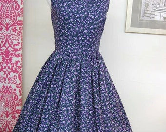 1960s Style Dress - Rockabilly Dress - Audrey Hepburn Style - Cotton Sundress - Navy Calico - Purple Roses