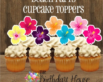 Beach Party - Set of 12 Double Sided Assorted Hibiscus Flower Cupcake Toppers by The Birthday House