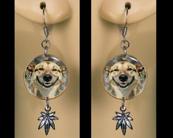 Happy Stoner Dog Cannabis Leaf Earrings