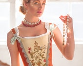Coral 18th Century Corset with Floral Embroidered Front in size XS, 18th Century Stays for Period Costume Marie Antoinette Rococo Revolution