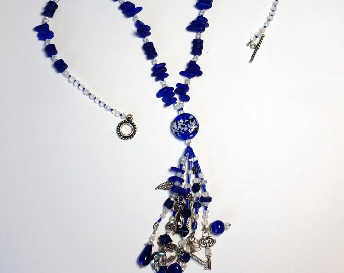 Cobalt Blue Cultured Beach Glass Lariat Necklace with Dangles