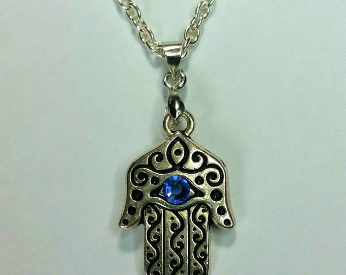 Two Sided Hamsa with Crystal Blue Evil Eye Necklace