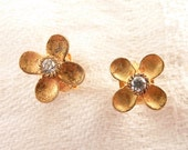 Vintage Tiny Gold Plated Sterling and Cubic Zirconia Flower Stud Earrings