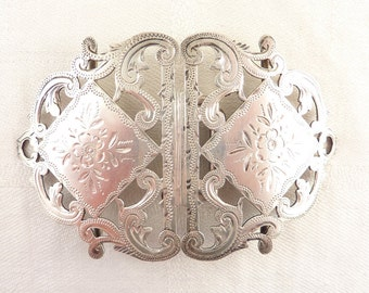 Antique 1898 Birmingham English Sterling by William Harris Hand Etched Ornate Buckle Set