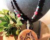 Carved Cedar Wolf Pendant Necklace, Cherokee Language, Wolf Totem, Native Style, Unisex Jewelry, Handcrafted Jewelry