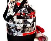 Large Knitting Project Bag Crochet Drawstring Tote WIP Bag -  Walking Dead Michonne