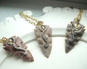 """Agate Arrowhead with Black Sterling, 24kt Gold Plated Sterling, Cubic Zirconia on 36"""" Goldplated Chain"""