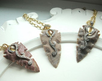 "Agate Arrowhead with Black Sterling, 24kt Gold Plated Sterling, Cubic Zirconia on 36"" Goldplated Chain"