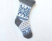 Christmas Stocking Personalized Option or Ready to Ship Blue, White & Gray Traditional Fair Isle Patchwork Wool Eco Holiday Decor Nordic Ski