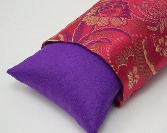 Flax Seed Eye Pillow - Lavender or Unscented -  Red and Purple Floral Brocade -  Removable Washable Outer Cover