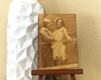 Laser engraved photo on wood 4x6, laser engraved photograph, laser engraved wood, laser engraved portrait, anniversary gift, birthday gift,