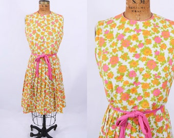 1960s dress vintage 60s orange pink floral print fit n flare dress XS W 24""